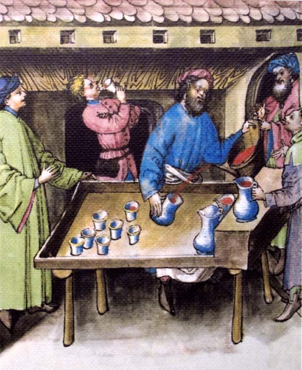 1wine_middle_ages_table_taverne_tacuinum_sanitatis_Rhenanie_1445