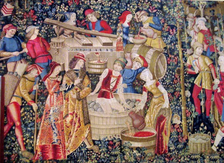 1wine_middle_ages_cluny_tapisserie_les_vendanges_XV
