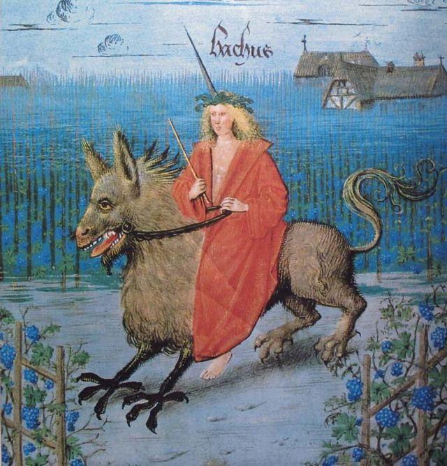 1wine_middle_ages_Bacchus_livre_des_echecs_amoureux_hainaut_XVeme