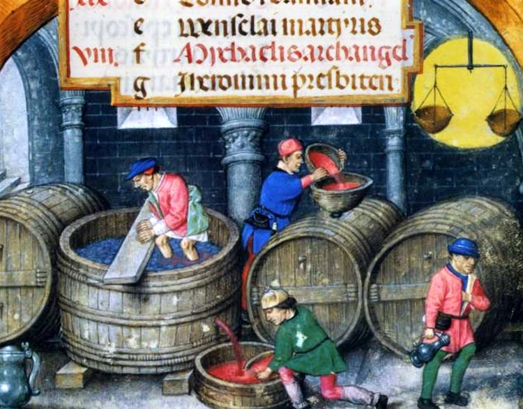 1wine_middle_ages_1500foulage_entonnage_heures_jean_marion